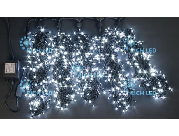 Светодиодная гирлянда Rich LED 5 нитей по 20 м, с контроллером,  цвет: белый. Черный провод.