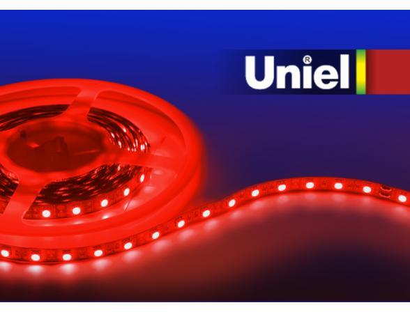 Светодиодная лента Uniel ULS-5050-60LED/m-10mm-IP20-DC12V-14,4W/m-5M-RED катушка в герметичной упаковке