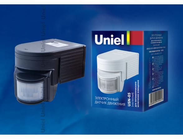 Датчик движения Uniel USN-05-180R-1200W-3LUX-12M-0,6-1,5m/s-WH