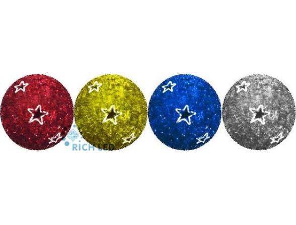 Светодиодный шар с мишурой Rich LED 40 см, мерцающий, цвет: серебряный