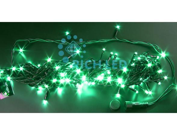 Светодиодная гирлянда Rich LED 10 м, цвет: зеленый. Черный провод.