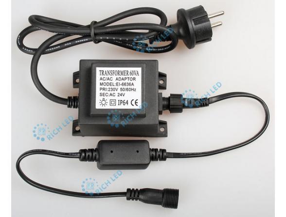 Шнур подключения 1.5 м с выпрямителем тока и трансформатором Rich LED RL-220AC/DC24-60W