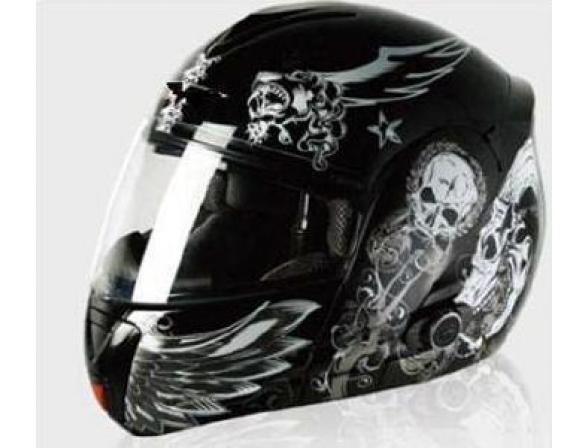 Шлем Yashiro Y210 Helmet  Crazyskull Black XL