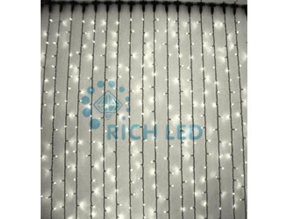 Светодиодный занавес Rich LED 2*3 м, цвет: теплый белый. Прозрачный провод