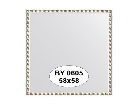 Зеркало в багетной раме EVOFORM витое серебро (58х58 см) BY 0605
