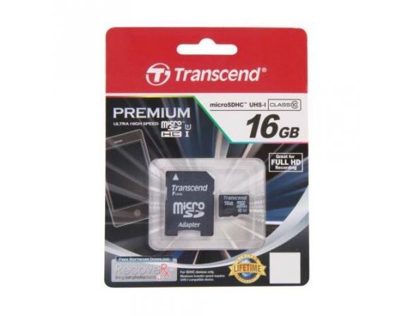 Флэш память Transcend 16Gb microSDHC Card class 10 UHS-I + SD адаптер TS16GUSDU1