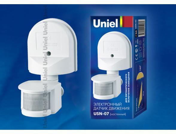 Датчик движения Uniel USN-16-180R-1200W-3LUX-12M-0,6-1,5m/s-WH