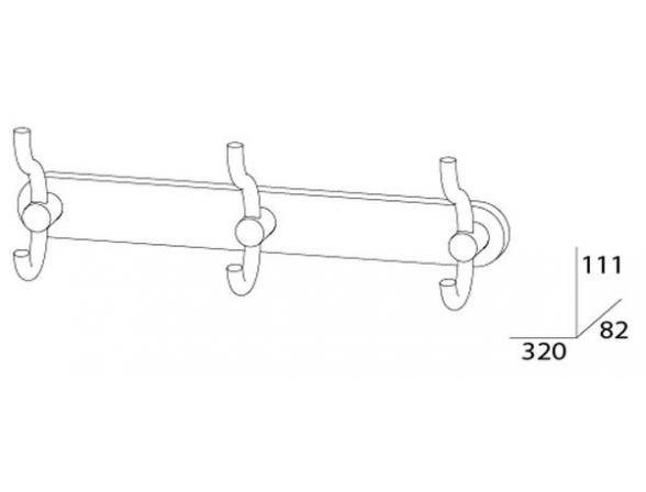 Планка с тремя крючками-вешалками ARTWELLE HARMONIA HAR 006