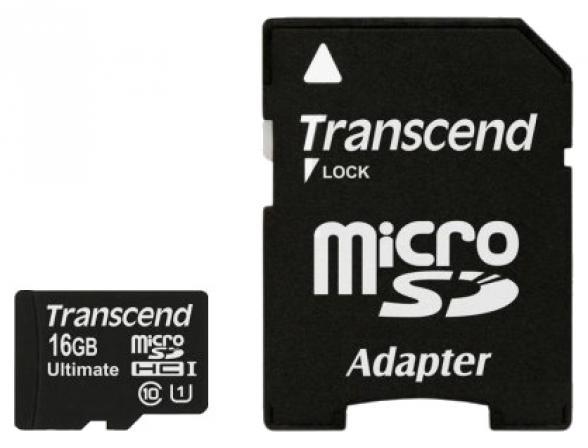 Флэш память Transcend 16Gb microSDHC Card class 10 UHS-I + SD  адаптер TS16GUSDHC10U1