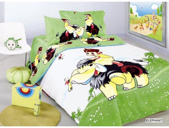 Постельное белье детское ARYA Сатин с вышивкой HAPPY ELEPHANT 160x220