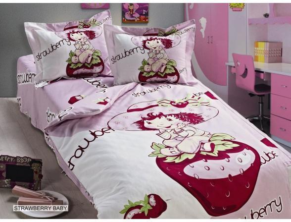 Постельное белье  для новорожденных ARYA Сатин печатное STRAWBERRY BABY 100x150