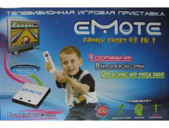 Игровая приставка EMOTE Family Sport 43 in 1 (прист., пульт, AV-кабель, адапт., джойст., карт. с игр.) (EM-007)