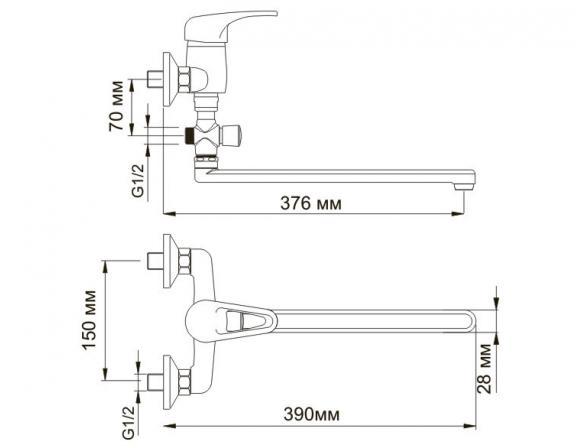 Смеситель для ванны с длинным поворотным изливом WasserKRAFT Oder 6302L