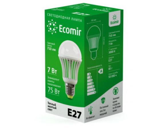 Светодиодная лампа Ecomir 7W E27 220V, E27 7Вт, желтый/матовый 42937