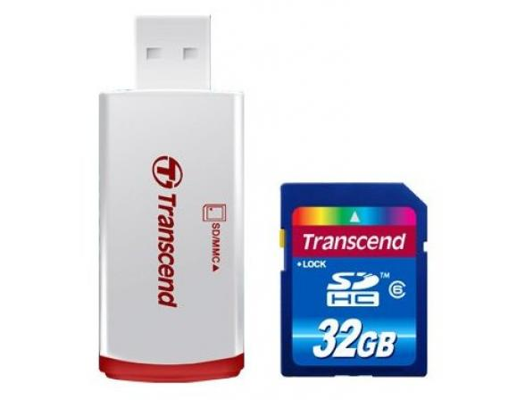 Флэш память Transcend 32Gb SDHC Card Class 6 + ридер