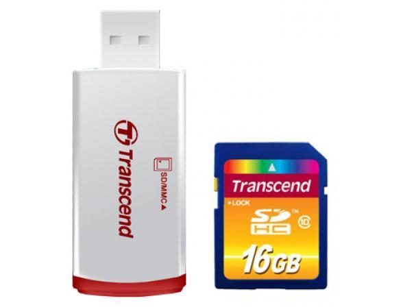 Флэш память Transcend 16Gb SDHC Card Class 10 + ридер