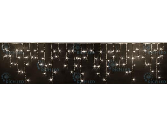Светодиодная бахрома Rich LED 3*0.5 м, цвет: теплый белый. Прозрачный провод