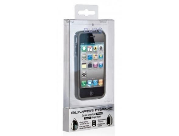 Бампер PURO Bumper Frame для iPhone 4/4S, (черно-серый)