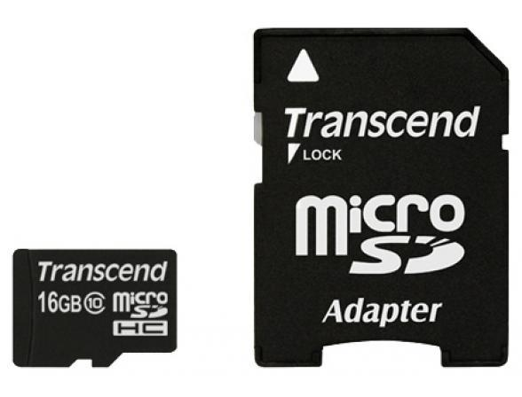 Флэш память Transcend 16Gb microSDHC Card class 10