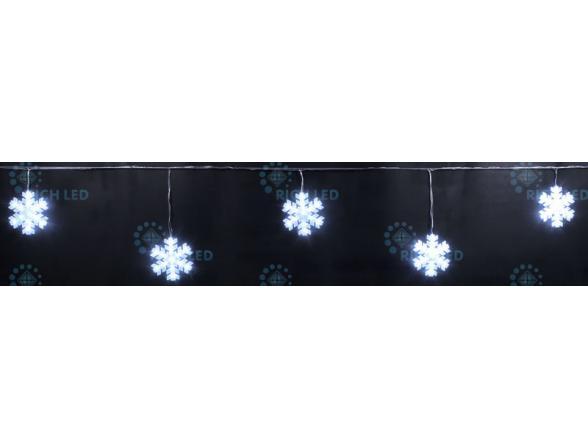 Светодиодные подвески Rich LED Снежинки 3*0.5 м, цвет: белый. Прозрачный провод.