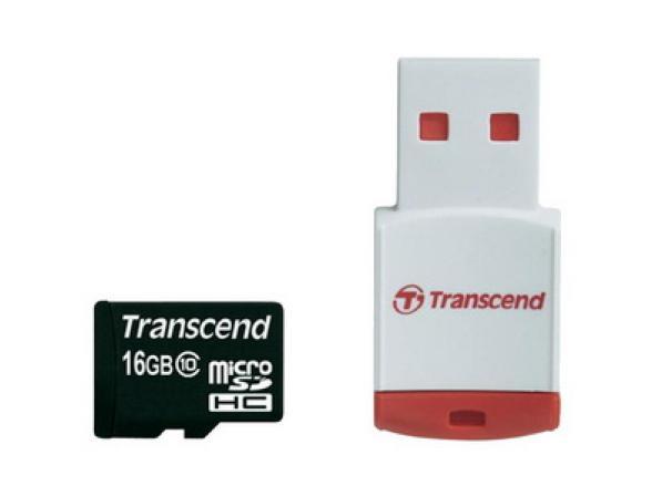 Флэш память Transcend 16Gb microSDHC Card class 10 + USB reader