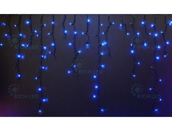 Светодиодная бахрома Rich LED 3*0.5 м, цвет: синий. Черный провод.