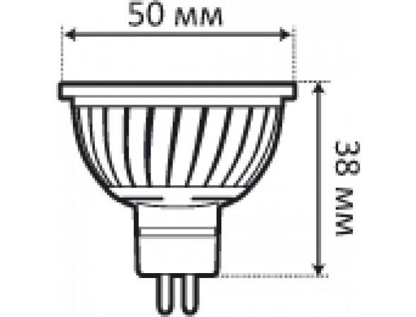 Светодиодная лампа Ecomir 3W MR16 GU5.3 220V, 3 Вт, жёлтый/ матовый рассеиватель 43101