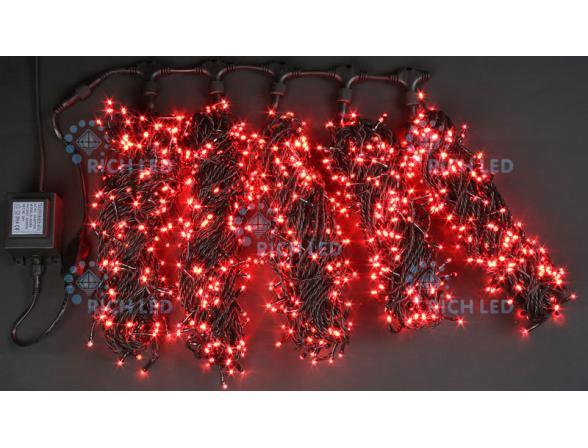 Светодиодная гирлянда Rich LED 5 нитей по 20 м, с контроллером, цвет: красный. Черный провод.