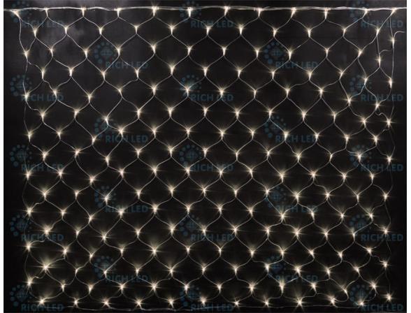 Светодиодная сетка Rich LED 2*3 м, цвет: теплый белый. Прозрачный провод.
