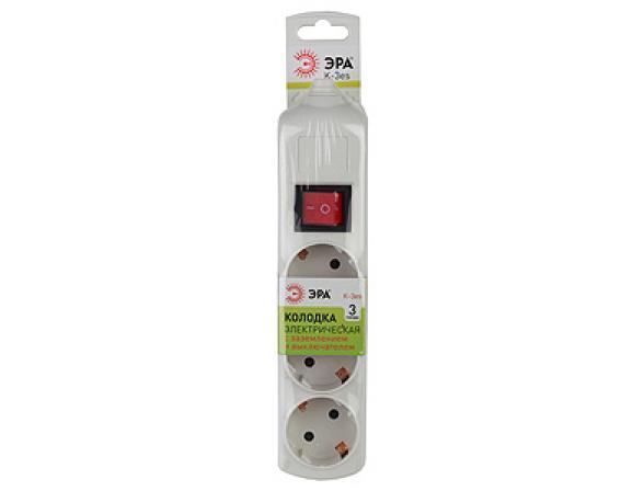 Колодка электрическая ЭРА K-3es 3гн, с заземлениемвыкл (10/40/120)