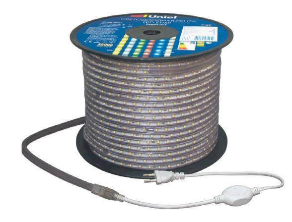 Светодиодная лента Uniel ULS-5050-30LED/m-14mm-IP67-220V-7,2W/m-100M-W бобина