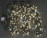 Светодиодная гирлянда Rich LED 3 нити по 20 м, с контроллером, цвет: теплый белый.  Черный провод.