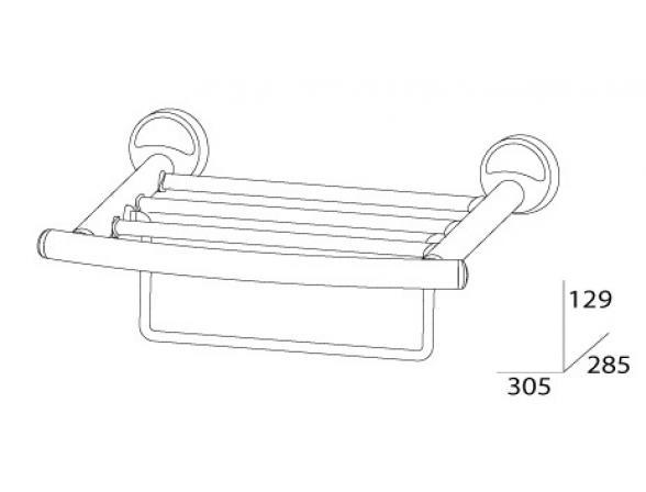 Полка для полотенец с нижним держателем FBS ELLEA 30 см ELL 039