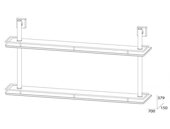 Полка с ограничителем двойная FBS ESPERADO 70 см ESP 066