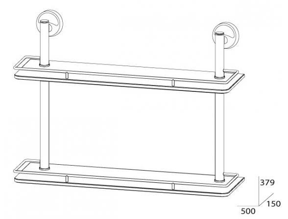 Полка с ограничителем двойная FBS ELLEA 50 см ELL 064
