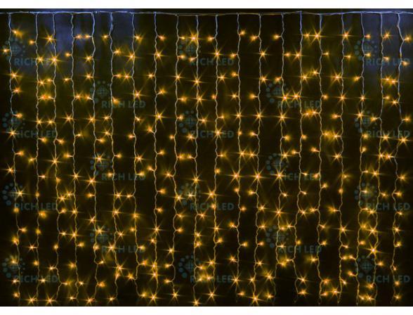 Светодиодный занавес Rich LED 2*1.5 м, цвет: желтый. Прозрачный провод