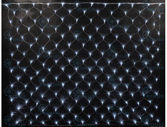 Светодиодная сетка Rich LED 2*1.5 м, цвет: белый. Прозрачный провод.