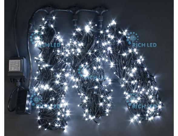 Светодиодная гирлянда Rich LED 3 нити по 20 м, с контроллером,  цвет: белый. Черный провод.