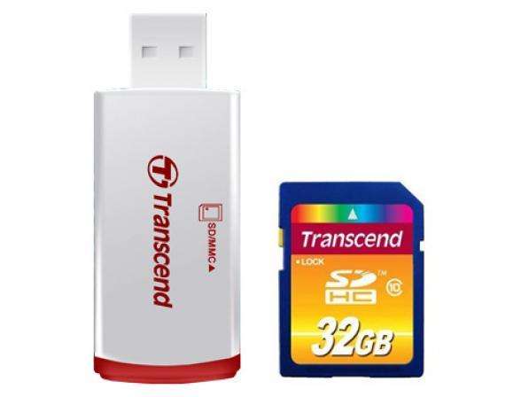 Флэш память Transcend 32Gb SDHC Card Class 10 + ридер