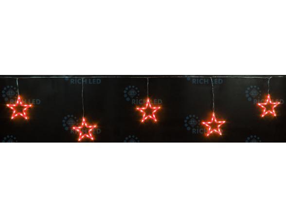 Светодиодные подвески Rich LED Звезды 3*0.5 м, цвет: красный. Прозрачный провод.