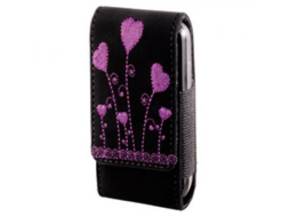 Чехол Hama Flora Heart, черный с розовой вышивкой