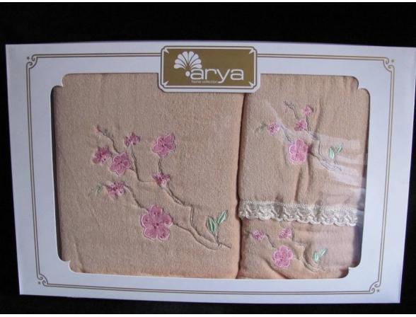 Комплект полотенец ARYA хлопок с вышивкой PETA