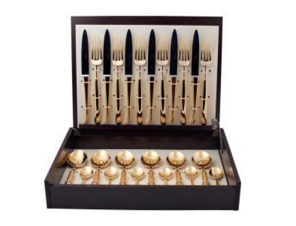 Набор столовых приборов CUTIPOL CARRE GOLD 9132-72 мат. 72 пр.