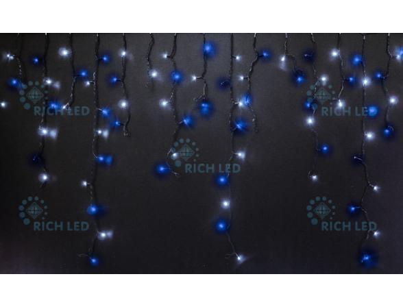 Светодиодная бахрома Rich LED 3*0.5 м, цвет: синий + белый. Прозрачный провод