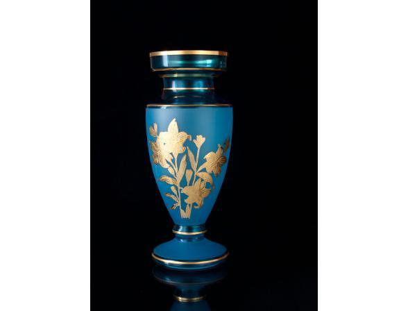 Ваза Crystal Art 50814, 30см (изумруд/золото)