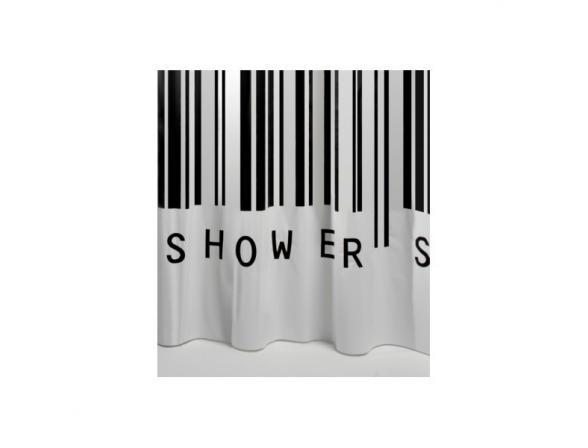 Шторка SEALSKIN Barcode 180х200, винил, черный (210651319)
