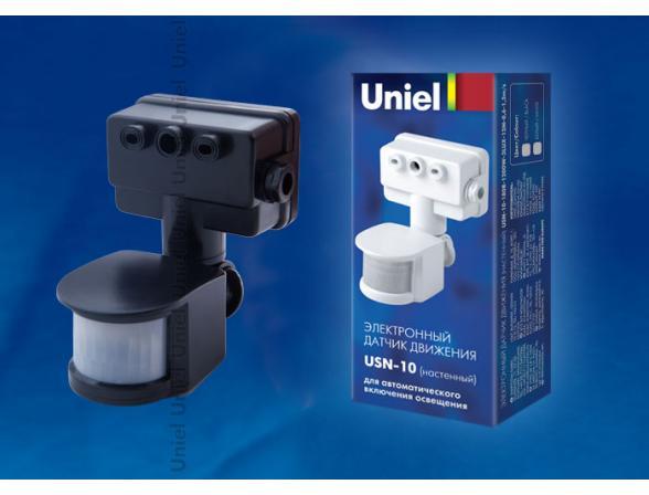 Датчик движения Uniel USN-10-180R-1200W-3LUX-12M-0,6-1,5m/s-BL