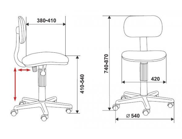 Кресло без подлокотников BURO CH-201NX/Dolls-Pk