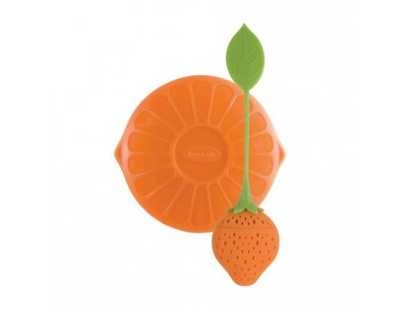 Ситечко силиконовое для заваривания чая Trudeau Клубничка цвет: оранжевый