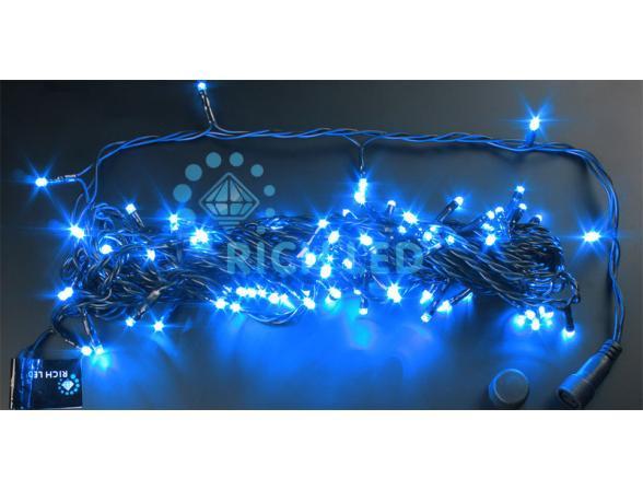 Светодиодная гирлянда Rich LED 10 м, цвет: синий. Черный провод.